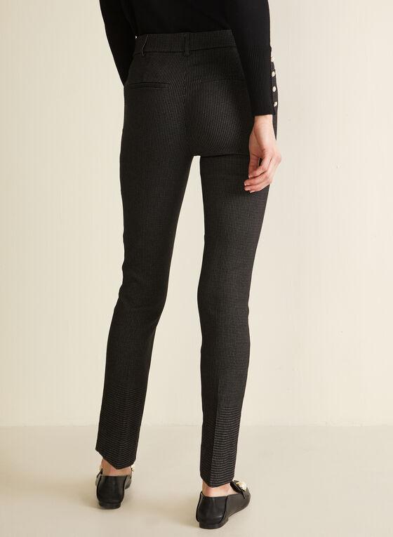 Check Print Slim Leg Pants, Black