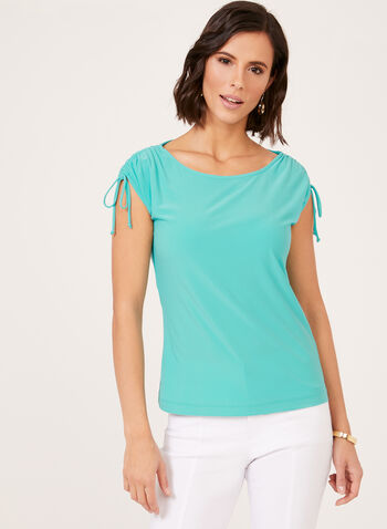Tie Detail Jersey Top, Blue, hi-res
