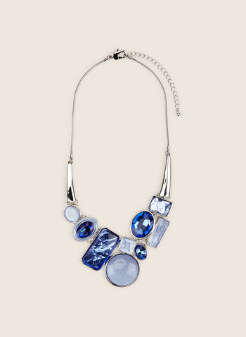 Mixed Geometric Stone Necklace , Blue,  necklace, geometric, stones, Spring Summer 2020