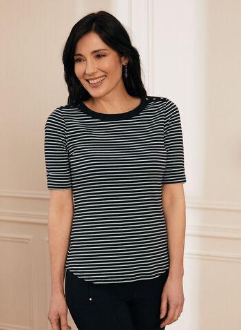 Elbow Sleeve Stripe Print T-Shirt, Blue,  t-shirt, cotton top, top, cotton t-shirt, elbow sleeves, stripe top, stripes, print, spring top, spring 2020, summer 2020