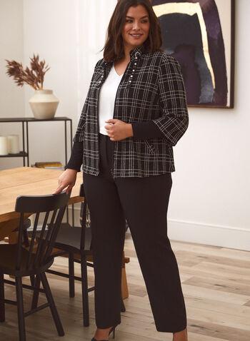 Veste à carreaux zippée avec cordon perlé , Noir,  veste, manches longues, fermeture à glissière, zip, zippée, carreaux, perles, col montant, automne hiver 2020