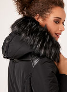 Faux Leather Detail Faux Fur Collar Coat, Black, hi-res