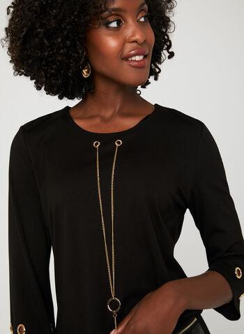 Alison Sheri –Chain Necklace Grommet Detail Top, Black, hi-res