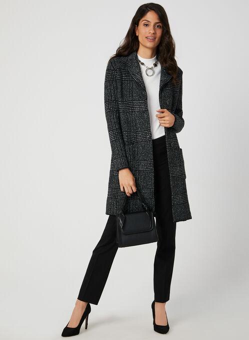 Plaid Print Sweater Coat, Black, hi-res