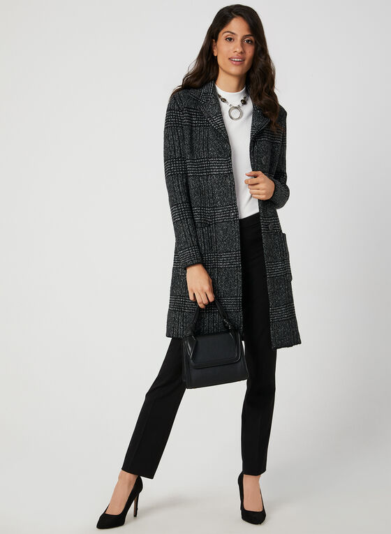 Plaid Print Sweater Coat, Black