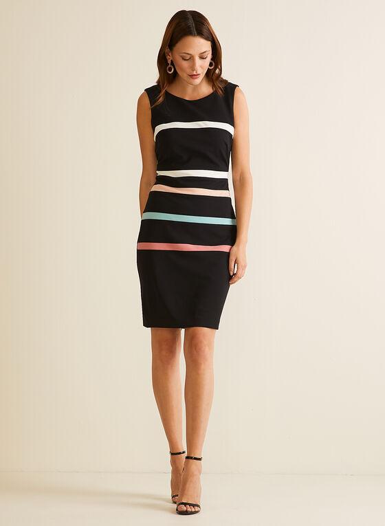 Contrast Stripe Sleeveless Dress, Black