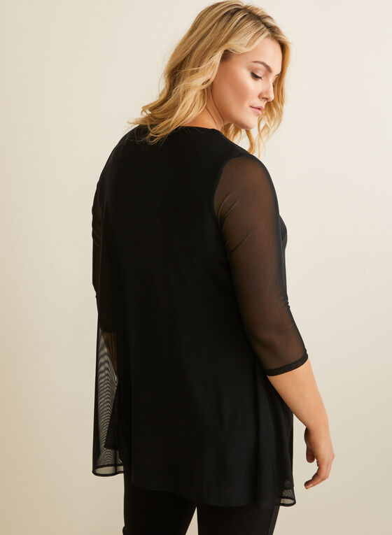 Blouse fendue en maille filet, Noir