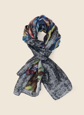 Floral Print Lightweight Scarf, Blue,  fall winter 2020, scarf, accessories, floral print