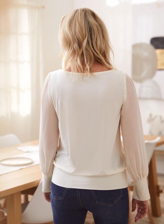 Chiffon Sleeve Top, White