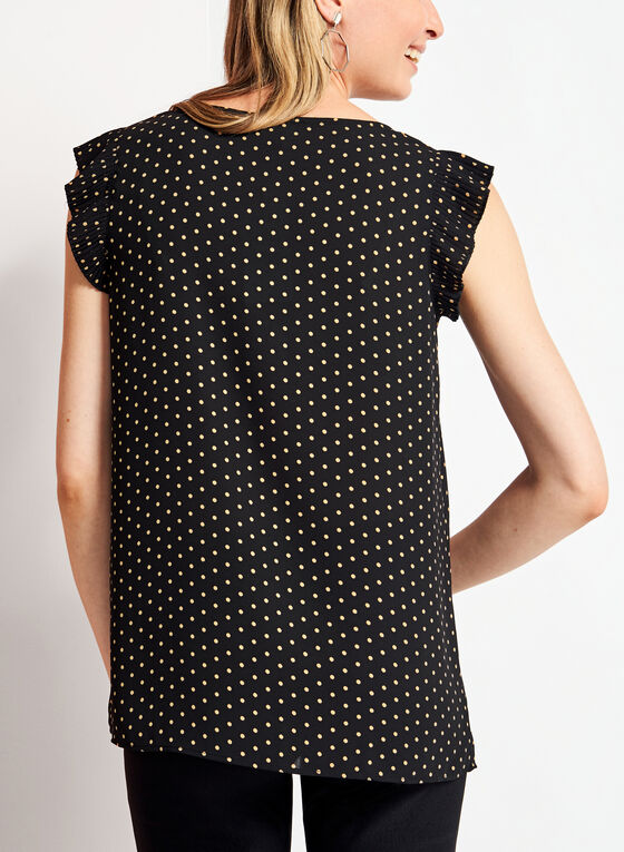 Cap Sleeve Polka Dot Blouse, Black, hi-res