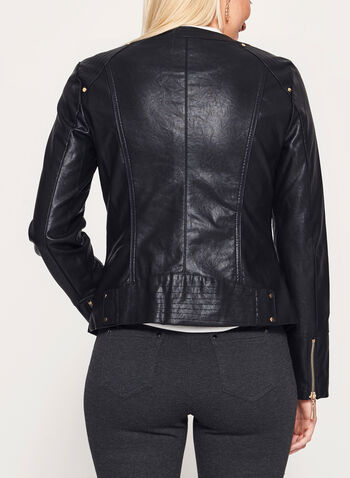 Ness - Faux Leather Zipper Trim Jacket, , hi-res