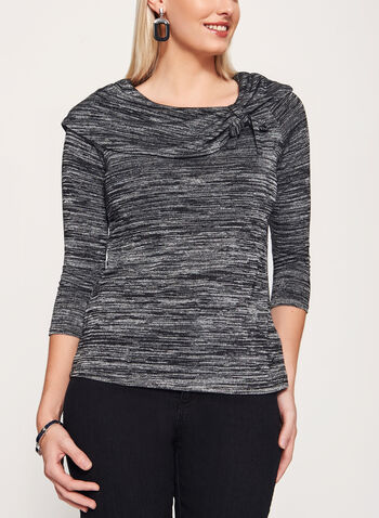 Marilyn Neck ¾ Sleeve Sweater , Grey, hi-res