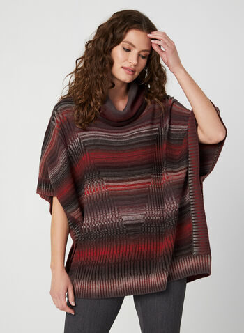 Cowl Neck Knit Poncho, Red,  poncho, knit, cowl neck, fall 2019, winter 2019