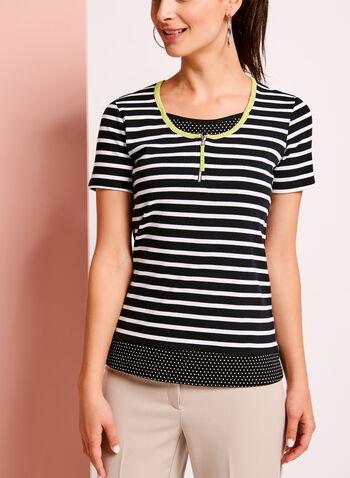 Stripe & Dot Print Cotton T-Shirt, Blue, hi-res