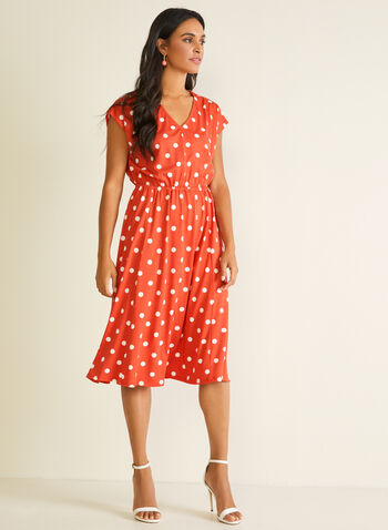 Polka Dot Print Dress, Orange,  day dress, v-neck, polka dot print, cap sleeves, cinched, elastic waist, spring summer 2020