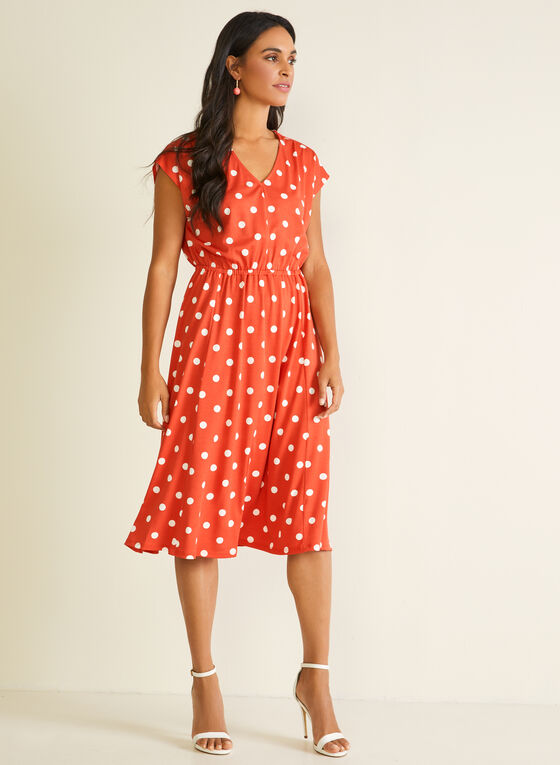 Polka Dot Print Dress, Orange