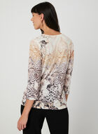 Floral Print ¾ Sleeve T-Shirt, White, hi-res