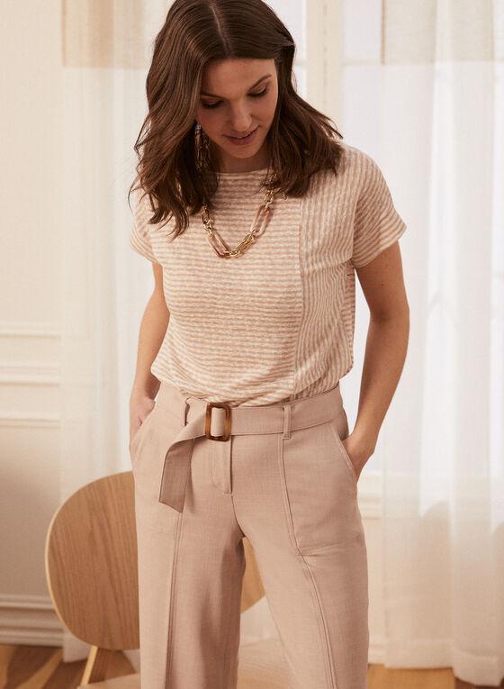 Stripe Print Linen-Like Tee, White