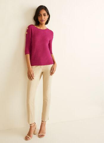 Pull en tricot à manches ¾, Violet,  pull, col bateau, manches 3/4, boutons, tricot, printemps été 2020