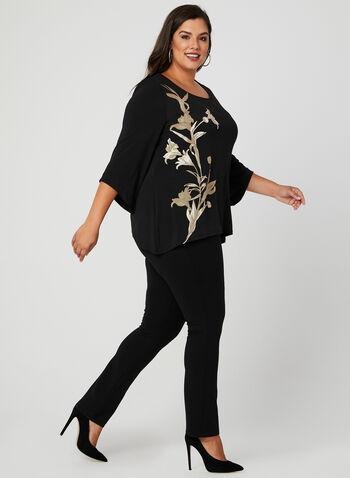 Floral Print Jersey Blouse, Black, hi-res