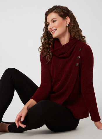 Textured Knit Top, Red, hi-res,  canada, long sleeves, scoop neck, top, knit, knitwear, textured, button, stretch, fall 2019, winter 2019