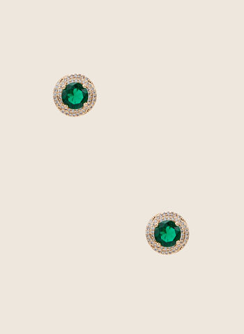 Faceted Stone Stud Earrings, Green,  earrings, studs, stone, faceted, crystals, metallic, round, spring summer 2020