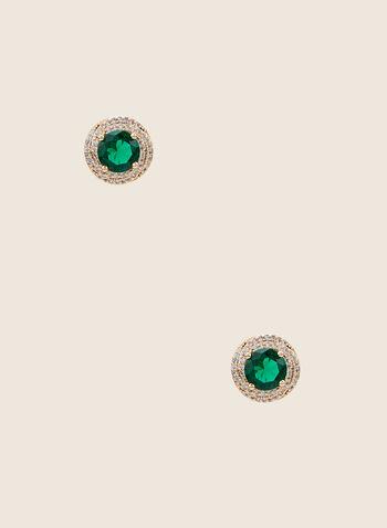 Clous d'oreilles à pierre ronde et cristaux, Vert,  clous d'oreilles, pierre ronde, cristaux, printemps été 2020