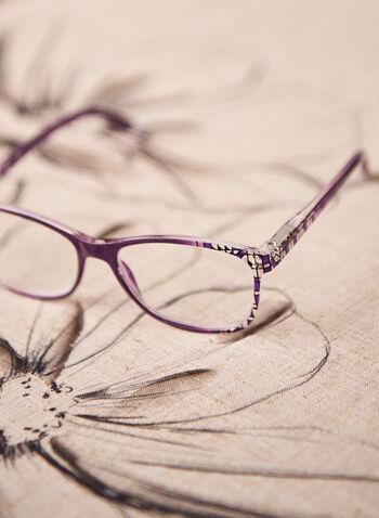 Lunettes de lecture à motif géométrique, Violet,  lunettes, plastique, motif géométrique, forme arrondie, printemps été 2021, accessoires