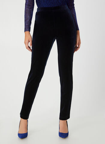 City Fit Velvet Pants, Blue, hi-res,  Canada, pants, velvet, pull on, elastic waist, City Fit, slim leg, straight leg, fall 2019, winter 2019