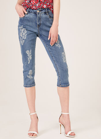 Simon Chang – Floral Print Denim Capri Pants, Blue, hi-res