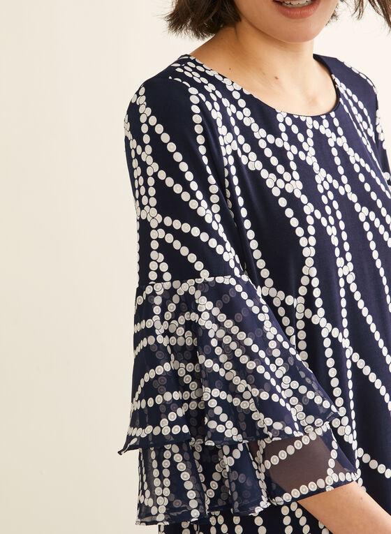 Textured Pearl Print Dress, Blue