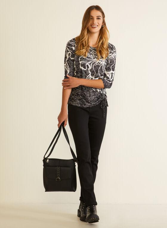 Floral Tie Hem T-Shirt, Black