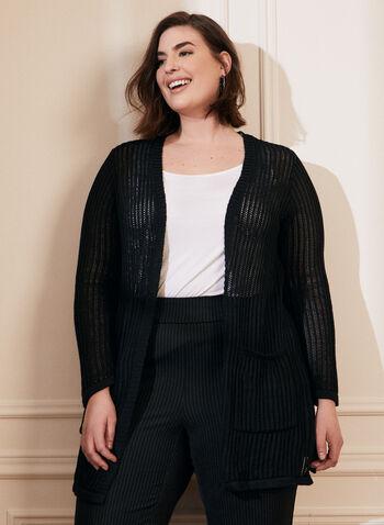 Cardigan ouvert en maille , Noir,  cardigan, ouvert, poches, maille ajourée, crochet, printemps été 2021
