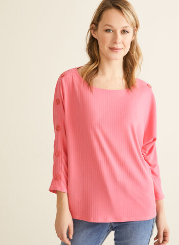 Dolman Sleeve Top, Pink,  spring summer 2020, dolman sleeves, rib-knit, button details, scoop neck