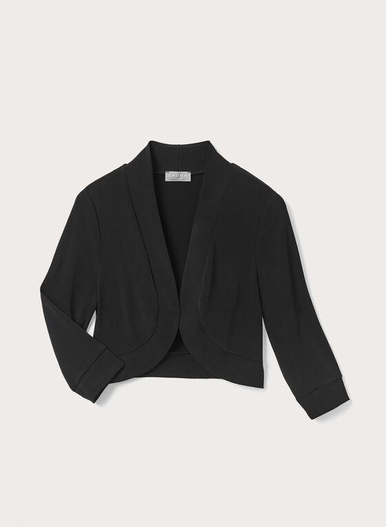3/4 Sleeve Short Bolero, Black, hi-res