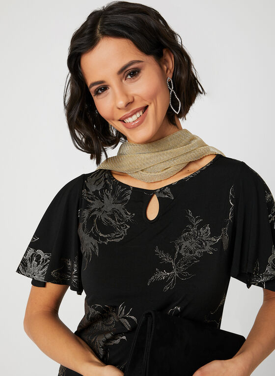 Metallic Bell Sleeve Top, Black, hi-res