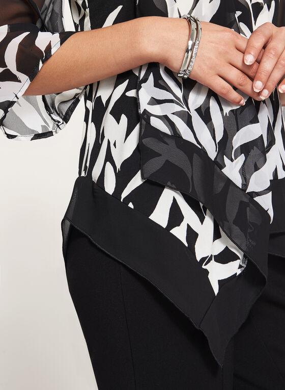 Leaf Print V-Neck Tunic, Black, hi-res