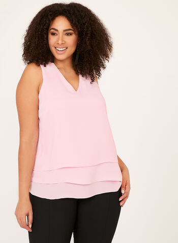 Tiered Crepe Sleeveless Blouse, Pink, hi-res