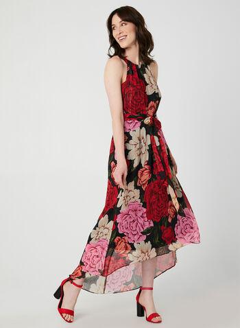Robe fleurie à col cléopâtre, Noir, hi-res,  robe de soirée, sans manches, col cléopâtre, mousseline fleurie, fibres métallisées, plissée, ceinture ruban, automne hiver 2019