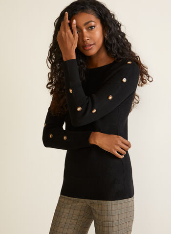 Button Detail Knit Sweater, Black,  sweater, long sleeves, knit, buttons, boat neck, fall winter 2020