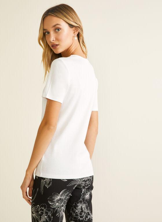 Lace Neckline Cotton T-Shirt, White