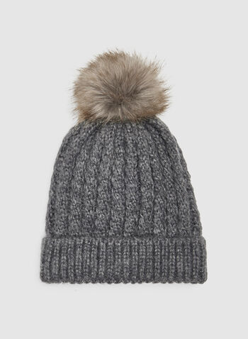 Fur Pompom Toque, Grey, hi-res
