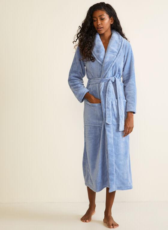 Belted Fleece Robe , Blue