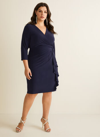 Ruffle Detail V-Neck Dress, Blue,  dress, cocktail, v-neck, 3/4 sleeves, jersey, twist, wrap, ruffle, spring summer 2020