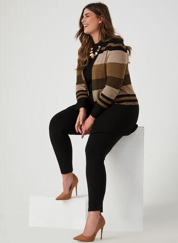 Cardigan ouvert à rayures contrastantes, Noir, hi-res,  haut ouvert, manches longues, rayé, motif, motifs, automne hiver 2019