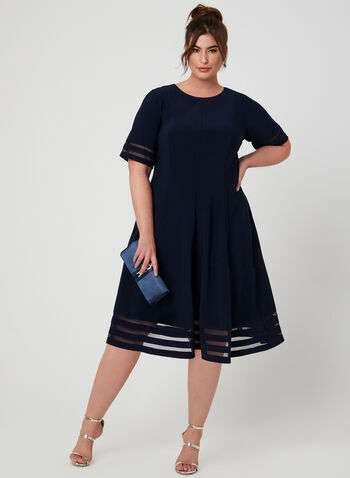 Mesh Insert Fit & Flare Dress, Blue, hi-res
