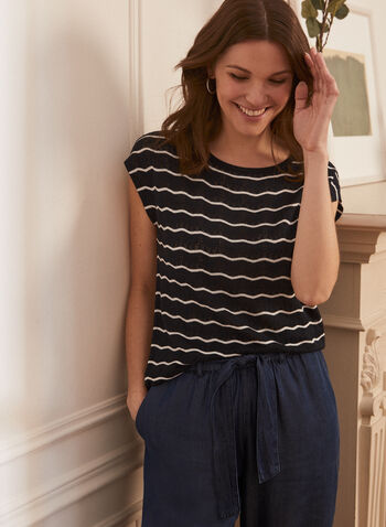 Stripe Print Short Sleeve Top, Blue,  top, short sleeves, scoop neck, stripe print, linen, spring summer 2020