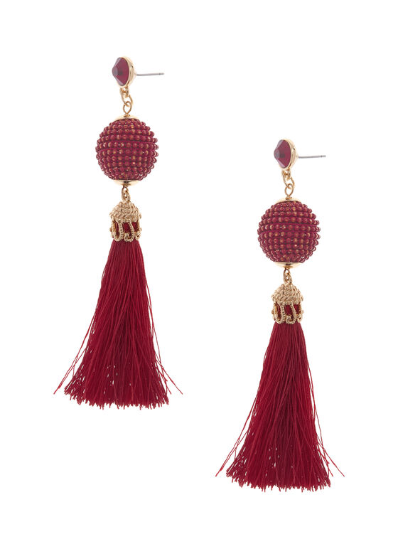 Bead & Tassel Earrings, Red, hi-res