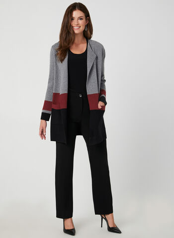 Colour Block Knit Cardigan, Grey,  open-front sweater, edge-to-edge cardigan, knit cardigan