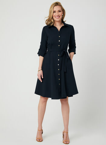 ¾ Sleeve Shirt Dress, Blue, hi-res